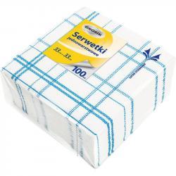 Grosik serwetki 33x33 100 sztuk kratka niebieski