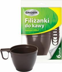 Grosik brązowe filiżanki do kawy 6 szt. 200ml plastik