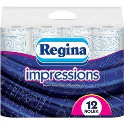 Regina papier toaletowy trzywarstwowy Impressions 12szt. Niebieski