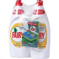 Fairy  Duo płyn do mycia naczyń 2x650ml+gąbka Cytryna