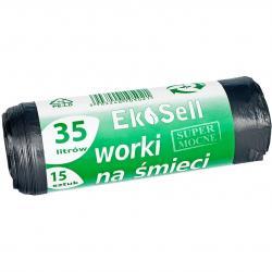 Ekosell worki LDPE 35l 15 szt. czarne
