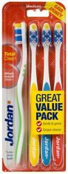 Jordan Total Clean średnie szczoteczki do mycia zębów 4 sztuki