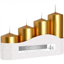 Bispol świeca bezzapachowa walec 50 metalik złota 4szt