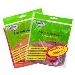 Grosik pakiet z mikrofibry ręcznik kuchenny + zmywak gąbczasty GRATIS!