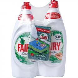 Fairy Duo Sensitive płyn do mycia naczyń 2x650ml+gąbka