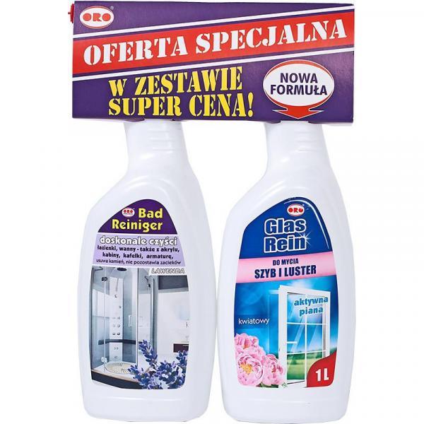 ORO zestaw spray do łazienek Lawenda 1L + spray do szyb Kwiatowy 1L